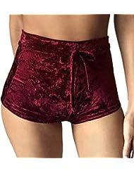 QHGstore Pantalones cortos de la cintura del cortocircuito de la playa de los cortocircuitos del deporte de la franela de las señoras verano de las mujeres vino rojo M