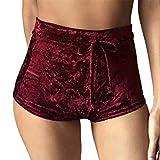QHGstore Femmes Ladies Summer Casual Flannel Shorts de sport Beach Short taille haute pantalon vin rouge M