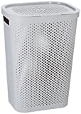 CURVER Wäschebox Infinity mit Punktmuster 59l in Hellgrau, Kunststoff, Grau, 44 x 36 x 61 cm, 6