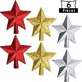 BBTO 6 Piezas de 4 Pulgadas de Estrella de Árbol de Navidad Estrellas Brillantes Copa de Árbol de Estrella para Decoración de Árboles de Navidad de Fiesta (Rojo, Plata,...