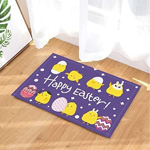 YYAANNGG Gelbes Küken der Ostern-Dekorationskarikatur und gemalte Eierschale Badteppich Rutschfeste Türmatte Wohnzimmer Kinderteppich Badezimmerzubehör 40x60cm (80 Halloween Küken)