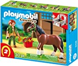 PLAYMOBIL 5108 - Shire Horse mit rot-grauer Pferdebox