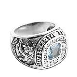 AmDxD Echtschmuck Silber 925 Ringe Herren Quadrat Blau Zirkonia Vintage Silber Schwarz Größe 62 (19.7)