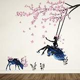 CMSPO Romantische Blumen Fee Schaukel Wandaufkleber für Kinderzimmer Wanddekor Schlafzimmer Wohnzimmer Kinder Mädchen Abziehbild Poster