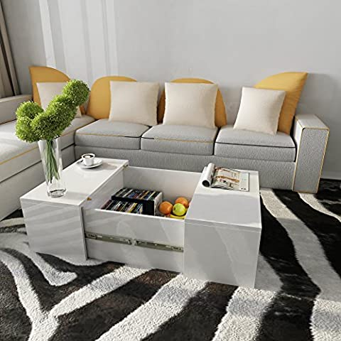 Tuff Concepts Coffee Table High Gloss Modern Living Room Side Table Furniture (Type A, White)