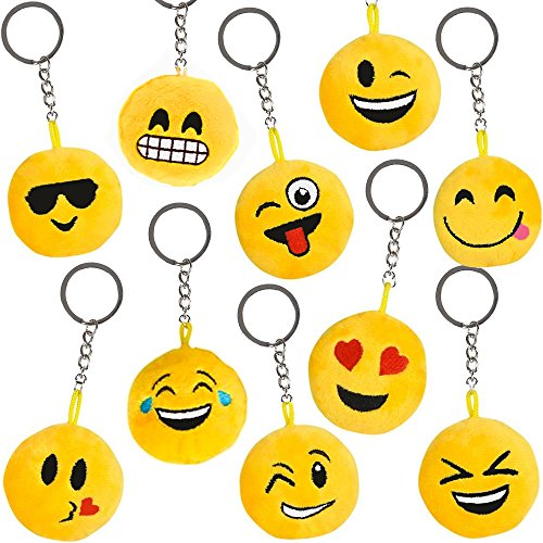 German Trendseller® - 12 x Emoji Plüsch Schlüssel Mix ┃ *Extra Plüschig*┃ Emoticons ┃ Mitgebsel ┃ Kindergeburtstag ┃ 12 Stück (Pyjama-hosen Herz-fleece)