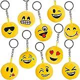 German Trendseller® - 12 x emoji porte-clés en peluche┃drole smiley ┃pendentif┃ émoticons ┃l'anniversaire d'enfant┃ extra pelucheux┃ petit cadeau