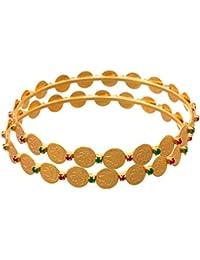 JFL - Traditional Ethnic Temple Laxmi Goddess One Gram Gold Plated Coin Designer Bangle For Girls & Women