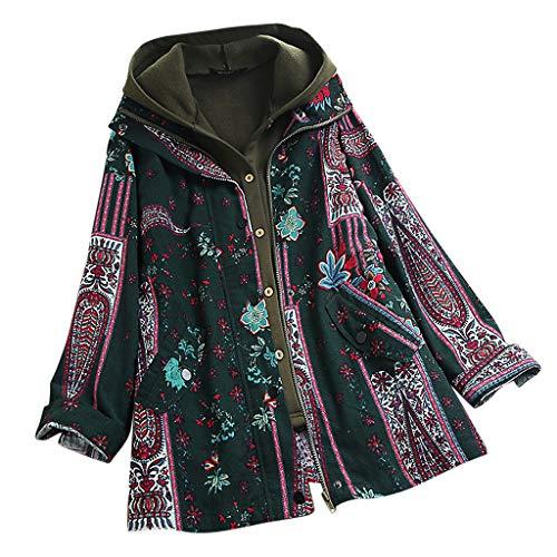 ➤Refill➤Damen-Mäntel,Plus Größe Damen Mit Kapuze Langarm Baumwolle Leinen Flauschigen Pelz Reißverschluss Outwear Mäntel