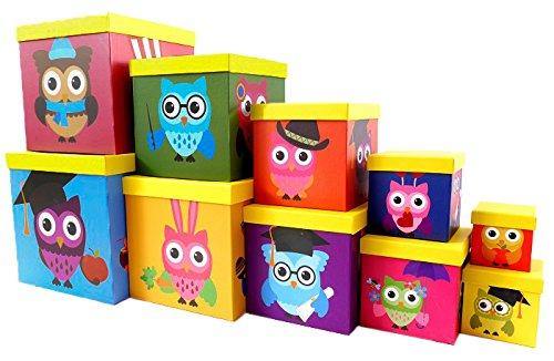 Eule-geschenk-korb (BRANDSSELLER Geschenkbox Aufbewahrungsbox Kartenkarton mit Deckel - Gute Qualität Pappe Eckig - 10er Set in absteigender Größe - Motiv: Eule)