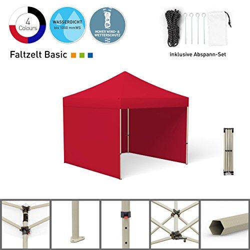 Faltpavillon Faltzelt Pavillon Klappzelt Basic 3 x 3 m, rot (3 Zeltwände) - weitere Farben und Größen lieferbar