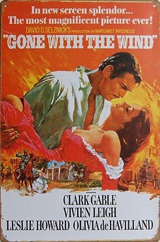 Gone With The Wind (1939), Metall blechschild, Vintage Deko Schild, Größe 20,3x 30,5cm