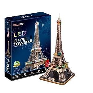 CubicFun- Puzzle 3D LED Torre Eiffel (CPA Toy Group Trading S.L. L091)