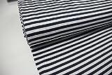 Stoff / Meterware / ab 25cm / beste Jersey-Qualität / Interlock Jersey (100% Baumwolle) Streifen dunkelblau weiß