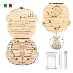 Idea Regalo - Scatola per denti da latte - Uiter scatola per conservare i denti in legno (versioni italiane) con borsa, fialetta e pinzette per bimbi e bimbem (Ragazzi)