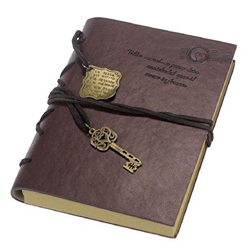 Culater® retro Schlüssel Lederbezug Buch leeres Notizbuch Zeitschrift Tagebuch Journalbuch Tagebuch Dunkelbraun