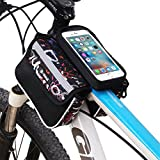 #6: Rrimin Cycling Bicycle Bike Frame Front Bag Phone Pouch Holder Black 5.5Inch