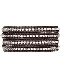 Rafaela Donata Damen-Armband Leather Collection Leder dunkelbraun Metallbeads silberfarben 60831011