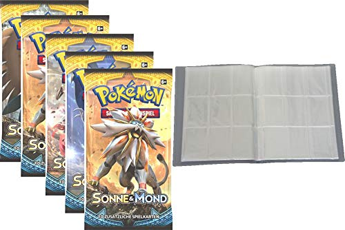 collect-it Pokemon Sonne & Mond Serie 1 - 5 Booster - Deutsch + Leere Sammelmappe - 30 Seiten (540 Karten) - Ideal für Sammel Bilder/Karten