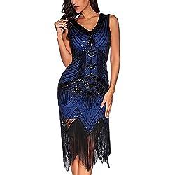 Vestidos de mujer de los años 20 con cuello en V con cuentas de flecos Great Gatsby Dress (Azul real, S)
