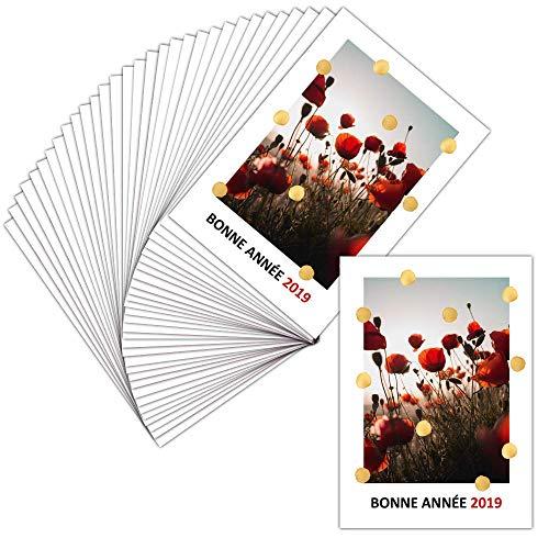 Grußkarte für Unternehmen und Grußkarten – 32 Karten – Gutschein und Mohnblumen – Dispo in 3 Größen Carte postale - 11 cm x 16 cm