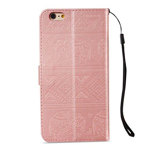 Custodia Apple iPhone 7 Plus, ISAKEN iPhone 7 Plus Flip Cover con Strap, Elegante Sbalzato Embossed Design in Pelle Sintetica Ecopelle PU Case Cover Protettiva Flip Portafoglio Case Cover Protezione C Elefante: rose gold