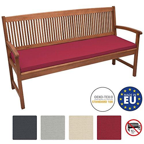 Beautissu Bankauflage Base BK ca. 150x48x5 cm Bequeme Polster für Garten-Bank mit abnehmbarem Bezug in Rot & in div Farben wählbar