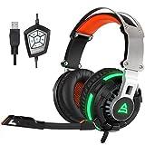 Supsoo G800 USB filaire Surround stéréo sur PC Gaming Headset bandeau écouteurs avec rotation Mic bruit annulation de la fonction de Vibration Tuner et LED Light(black)
