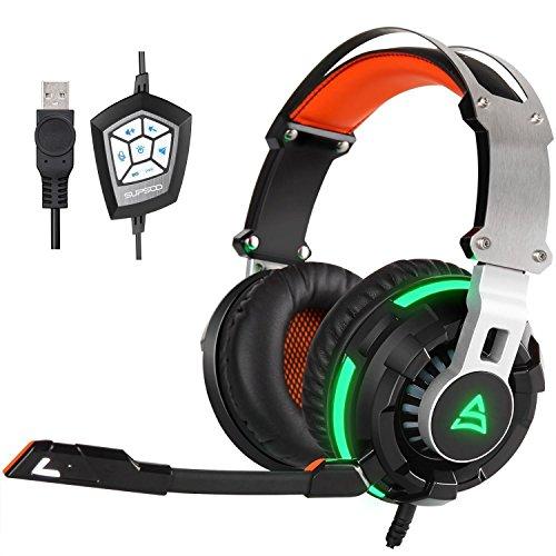 [2016 neu Gaming Kopfhörer] SUPSOO G800 USB Wired Surround Stereo PC Over Ear Gaming Headset Kopfhörer mit rotierenden MIC Noise Cancelling Vibration Tuner Funktion und LED Light (schwarz)