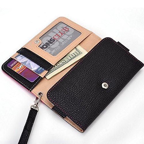 Kroo Pochette Téléphone universel Femme Portefeuille en cuir PU avec sangle poignet pour Orange Rono noir - noir Multicolore - Magenta and Black