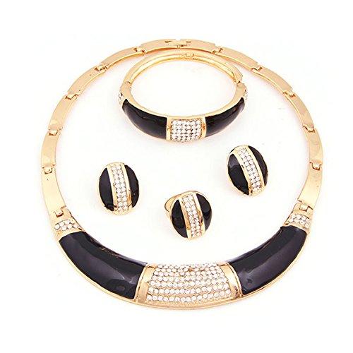 Fashion Classic Schmuck-Sets für Frauen, Halskette und Ohrringe, afrikanische Hochzeit/ Kostüm-Party/Geschenk, vergoldet