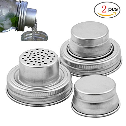 YOUTU Mason Jar Shaker Lids - 2 Pack - Awesome to Shake Cocktails or Your Best Dry Rub - Mix Spices, Dredge Flour, Sugar & More - Fits Any Regular Mouth Canning Jar - Durable, Rust Proof Stainless Steel
