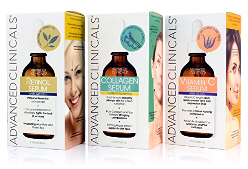 Advanced Clinicals Complete Skin Care Set with Anti-Aging Retinol Serum, Plumping Collagen Serum, and Vitamin C Serum for wrinkles, dark spots, and uneven skin tone. Three large 1.75oz bottles -