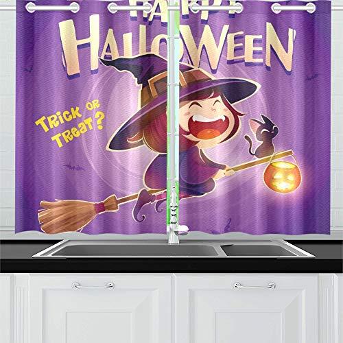 JIUCHUAN Happy Halloween Halloween Fliegende kleine Hexe Küchenvorhänge Fenster Vorhangebenen für Café, Bad, Wäscherei, Wohnzimmer Schlafzimmer 26 X 39 Zoll 2 Stück (Halloween Cartoon Hexen-magie,)