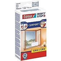 tesa Insect Stop COMFORT Fliegengitter für Fenster/Insektenschutz mit selbstklebendem Klettband in Weiß/130 cm x 150 cm 1 Karton (5 Stück)