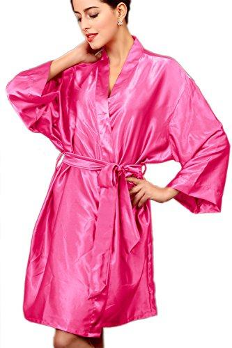 Kimono robe Satin soie Nightwear des femmes Rose