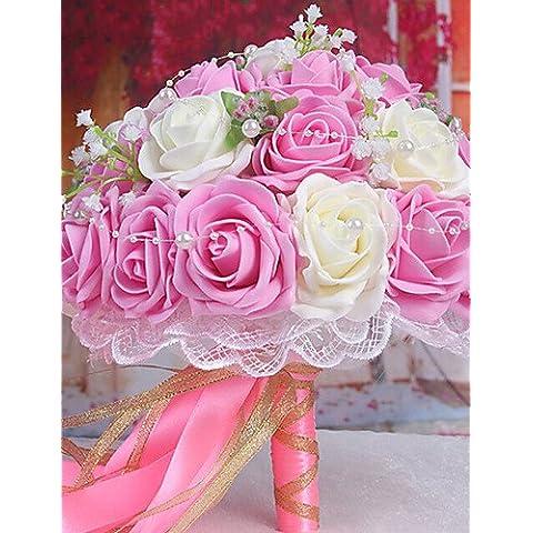 flores artificiales, un ramo de 30 rosas pe simulación ramo de la boda de la novia de novia con flores, rosa claro y blanco