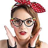 Stilosi Occhiali per Party Anni '50 con Brillantini / Occhiali Vintage Carnevale Pin Up Girl / Adatti per Carnevale & Festival