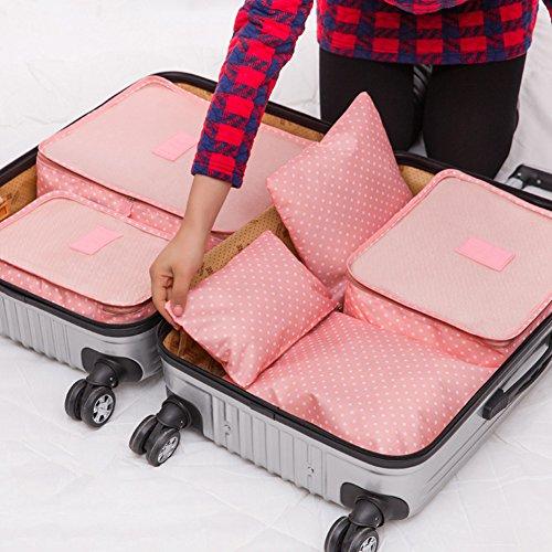 Caja de almacenamiento de lujo, organizador de almacenamiento plegable, juego de 6 piezas, para mujeres, hombres, viajes, bolsa de almacenamiento de lunares, bolsa de equipaje, ropa organizadora portátil, rosa