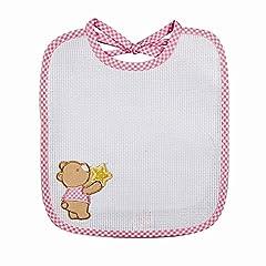Idea Regalo - Bavetta neonato da ricamare KITTY cm. 19x22 Bavaglino neonato con laccetti e fascia in etamine per il ricamo Spugna cotone 100% Made in Italy