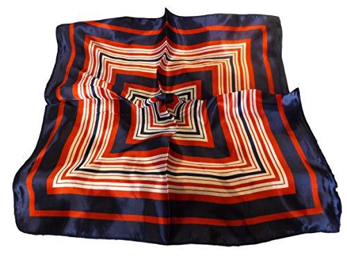 Quadratisch Seiden Gefühl Streifenmuster Rot Marine Blau Weiß Handtasche Mehrzweck (Professionelle Uniformen)