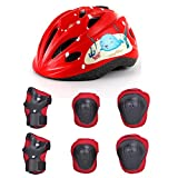 YxFlower 7 in 1 Kit de Protection Roller Casque Velo Enfant pour Skateboard Roller Patinage Bicyclette Hoverboard enfant 8 12 ans - Rouge M
