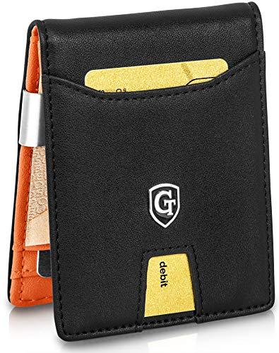 GenTo® Herren Geldbörse Singapore mit Geldklammer und Münzfach - TÜV geprüfter RFID, NFC Schutz - erhältlich in 5 Farben | Design Germany (Schwarz Orange Glatt)