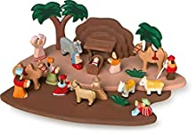 Small Foot jeu de 1839 crèche en bois sculpté à la main, avec toutes les figures de l'histoire biblique, à partir de 3 ans