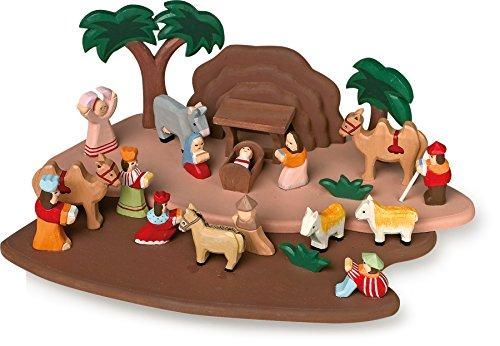 small foot 1839 Krippenspiel handgeschnitzt aus Holz, mit allen Figuren aus der Bibelgeschichte, ab 3 Jahren