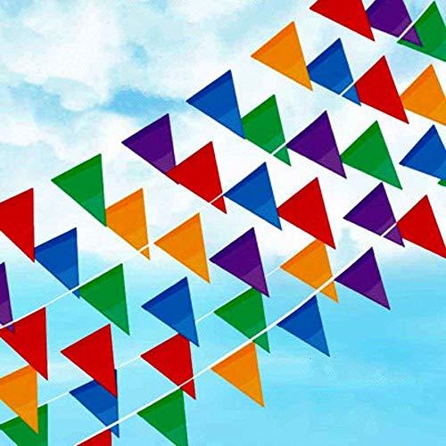 Joykey Multicolore Fanions 100 M Nylon Guirlande Banderole Tressé Chaîne Fanion Banner pour la Décoration De Jardin De Fête d'anniversaire De Mariage, 200 Drapeaux De Triangle