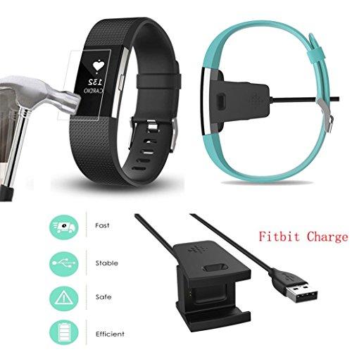 Für Fitbit Charge 2 Watch Transer® Ersatz Aufladenkabel USB+HD Schutzfolien für Uhren (Notebook Nylon Schwarz Clamshell)