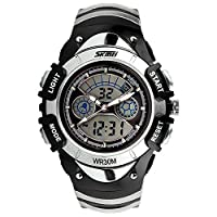 ALPS Kids Simple Design MultiFunction LED Digital Sport Watch 30M Waterproof Casual Fashion Wrist Watch (Silver)