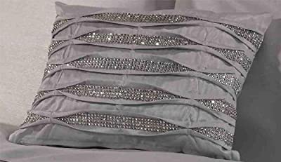 Crystal Diamante Filled New Boudoir Pleated Modern Oblong Cushion, Polyester, Silver, 30 x 40 cm - low-cost UK light store.