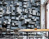 YUANLINGWEI Custom 3D Mural Wallpaper Modern Minimalist Solid Geometric Cement Brick Wall Industrial Style Backdrop Painting,210Cm (H) X 290Cm (W)